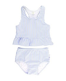 Baby Girl's Peplum Tankini Swimsuit Swim Headband Set, 2 Piece