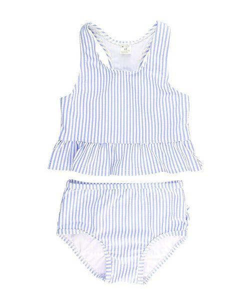 RuffleButts Baby Girl's Peplum Tankini Swimsuit Swim Headband Set, 2 Piece
