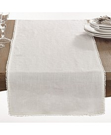 Pom Pom Design Linen Dining Room Table Runner