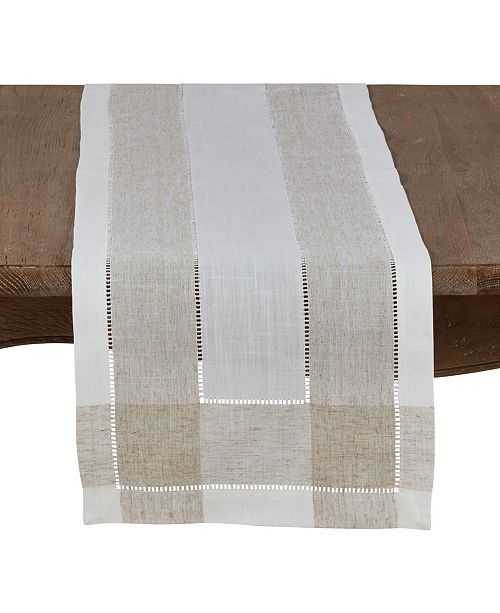 Saro Lifestyle Timeless Linen Blend Table Runner with Hemstitch Accents