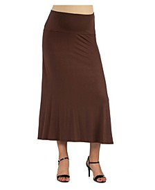 Women's Elastic Waist Solid Color Maternity Maxi Skirt
