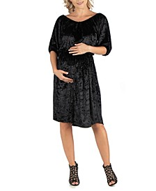 Off Shoulder Knee Length Black Velvet Maternity Dress