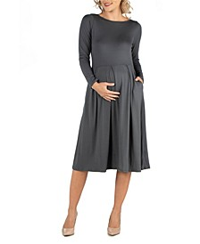 Midi Length Fit N Flare Pocket Maternity Dress