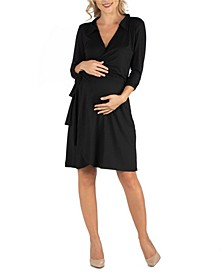 Knee Length Collared Maternity Wrap Dress