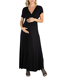 Cap Sleeve V Neck Maternity Maxi Dress