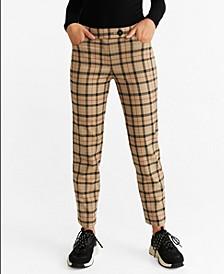 Straight Leg Checkered Trousers
