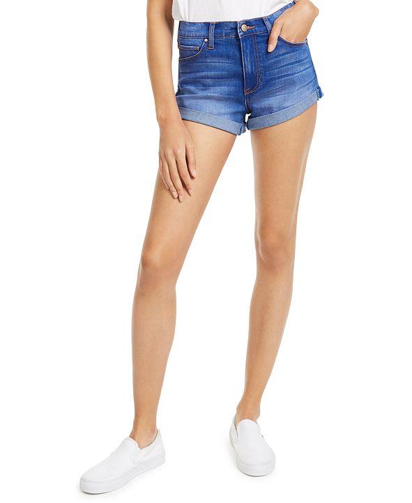 Celebrity Pink Juniors' High-Rise Cuffed Denim Shorts