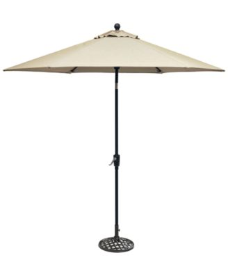 Chateau Outdoor 9' Push Button Tilt Umbrella with Sunbrella® Fabric and Base, Created for Macy's