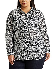 Plus Size Patch-Pocket Cotton Shirt