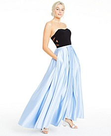 Juniors' Strapless Crisscross-Side Gown