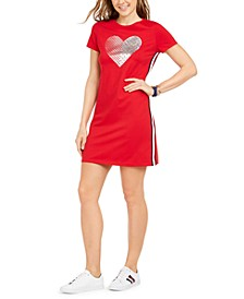 Metallic Dotted Heart T-Shirt Dress