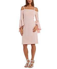 Bell-Sleeve Sheath Dress