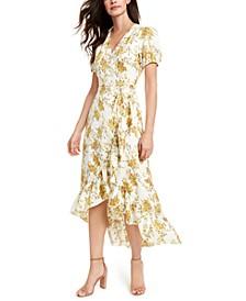 Floral-Print Wrap Midi Dress