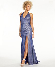 Juniors' Metallic Halter Gown