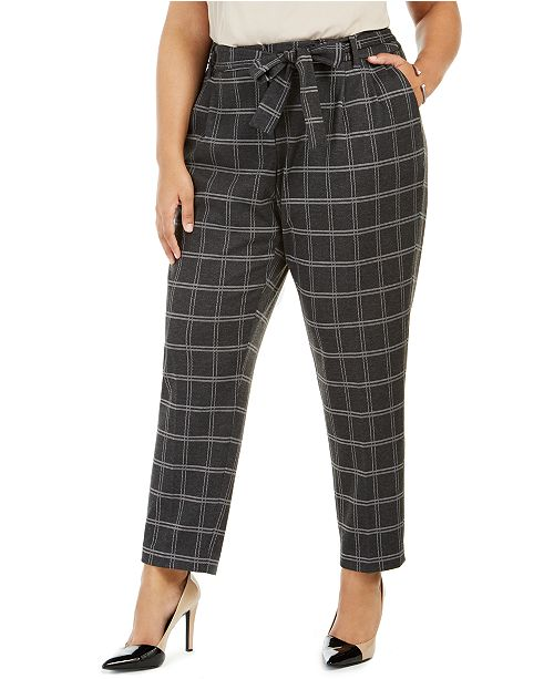 Calvin Klein Plus Size Plaid Tie-Waist Pants