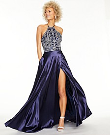 Juniors' Embroidered Satin Halter Ball Gown