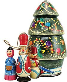 Russian Wooden Christmas Tree Nested Doll with Ornament Set