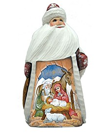 Woodcarved and Hand Painted Santa Nativity Figurine