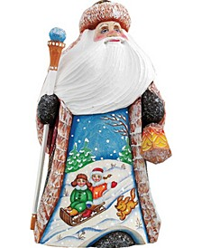 Woodcarved and Hand Painted Downhill Race Santa Figurine