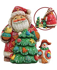 Surprise-Box Santa with Tree and Snowman Figurine