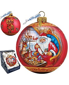 Santa Workshop Ball Glass Ornament