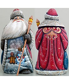 Woodcarved and Hand Painted Girl and Snowman Santa Figurine