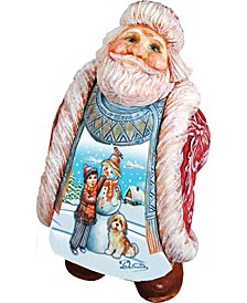 Scenic Santa with Child and Dog Making Snowman Figurine