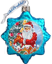 Santa Gingerbread House Glass Ornament