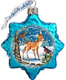 Santa Forest Friends Glass Ornament