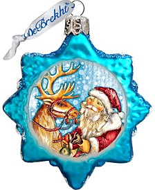Reindeer Santa Keepsake Glass Ornament