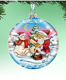 Limited Edition Oversized  Retro Santa List Ball Glass Ornament
