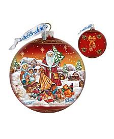 Limited Edition Oversized Santa Ball Glass Ornament