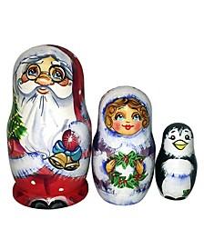 Christmas Bell Santa Family 3-Piece Russian Matryoshka Nested Dolls Set