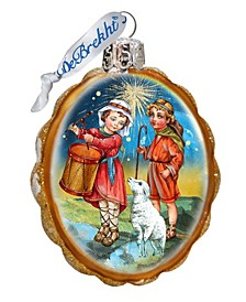 Drummer and Shepherd Boy Glass Ornament