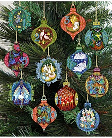 12 Days of Christmas Set of Wooden Ornaments