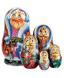 5-Piece Santa Reendear Friend Russian Matryoshka Nested Doll Set