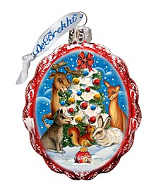 Christmas At The Forest Glass Ornament