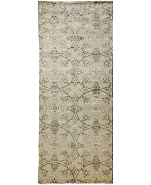 "Timeless Rug Designs CLOSEOUT! One of a Kind OOAK3637 Bone 4'1"" x 9'10"" Runner Rug"