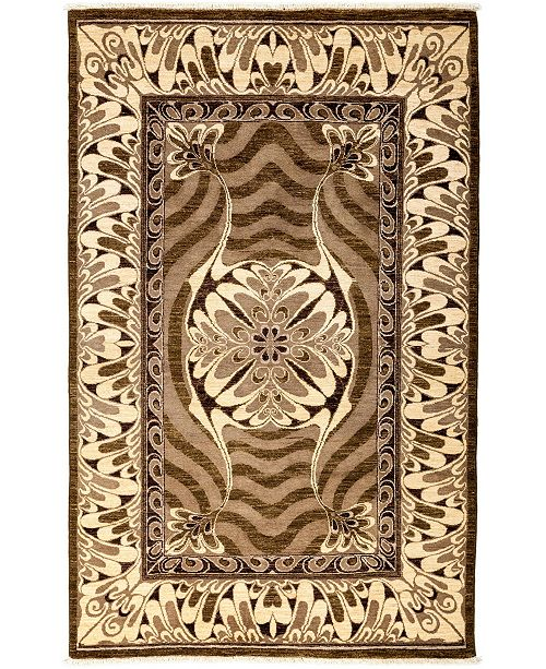 """Timeless Rug Designs CLOSEOUT! One of a Kind OOAK3258 Brown 5'1"""" x 8'1"""" Area Rug"""