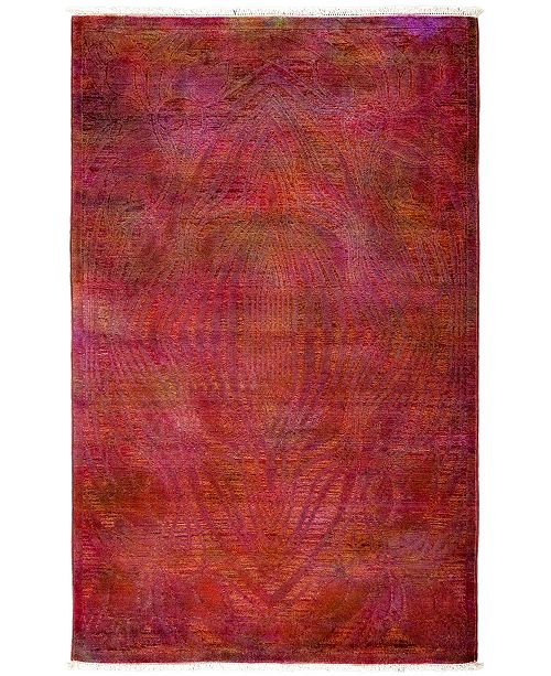 """Timeless Rug Designs CLOSEOUT! One of a Kind OOAK3238 Raspberry 4' x 6'3"""" Area Rug"""