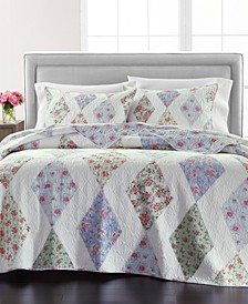 Diamond Floral Reversible Patchwork Quilt and Sham Collection, Created for Macy's