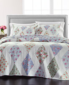 Martha Stewart Collection Reversible Diamond Floral Patchwork Full/Queen Quilt, Created for Macy's
