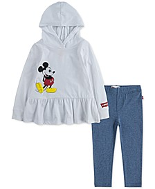 x Disney 2-Pc. Little Girls Mickey Mouse Peplum Hoodie & Leggings Set