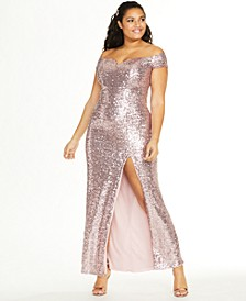 Trendy Plus Size Off-The-Shoulder Sequined Gown, Created for Macy's