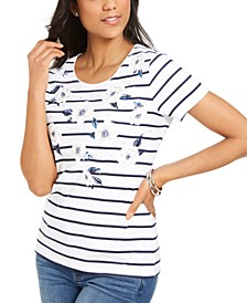 Petite Rhinestone Printed Top, Created for Macy's