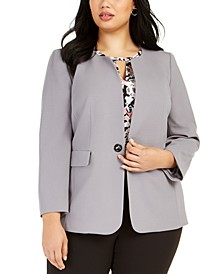 Plus Size Toggle-Closure Jacket