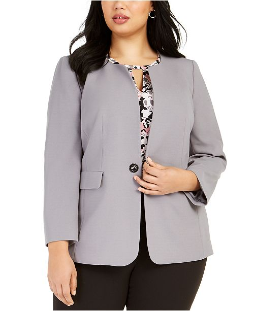 Nine West Plus Size Toggle-Closure Jacket