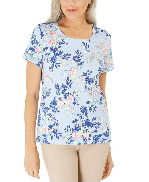 Karen Scott Floral-Print Scoop-Neck Top, Created For Macy's