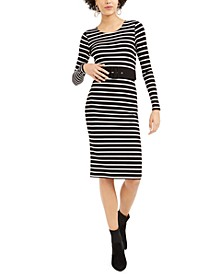 Striped Belted Sheath Dress, Created For Macy's
