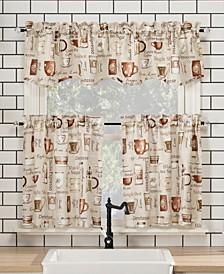 "Bristol Coffee Shop 54"" x 24"" Semi-Sheer Kitchen Curtain Set"